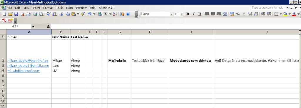 Hur arket ser ut i Excel