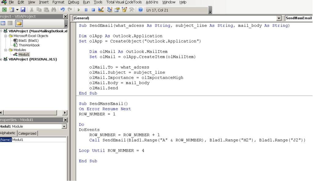 VB-koden du skriver in